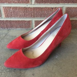 Victoria's Secret Red Velvety Heels Pointy Toe